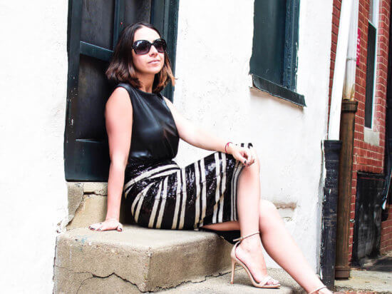 IMG_black-white-striped-sequin-skirt-alicia-and-olivia-zara-leather-crop-top-banana-republic-sunglasses-steve-madden-nude-heels-sequins-new-years-eve-outfit-party-outfit