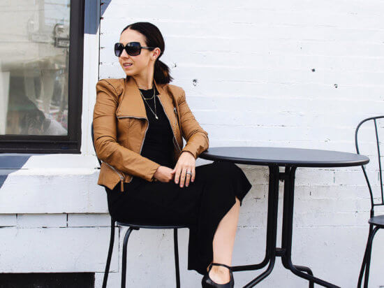 IMG_my goal for 2018 and why I became a blogger wearing a simple black dress with a slit and a brown leather moto jacket with shultz black rosaflor heels